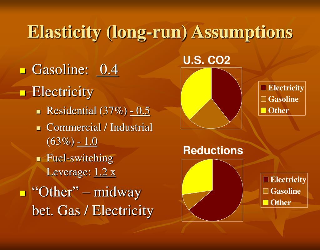 Elasticity (long-run) Assumptions