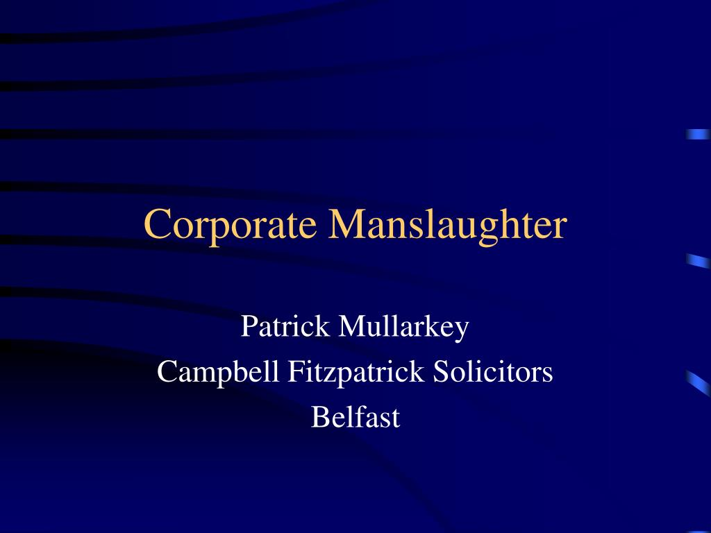 corporate manslaughter l.
