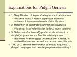 explanations for pidgin genesis