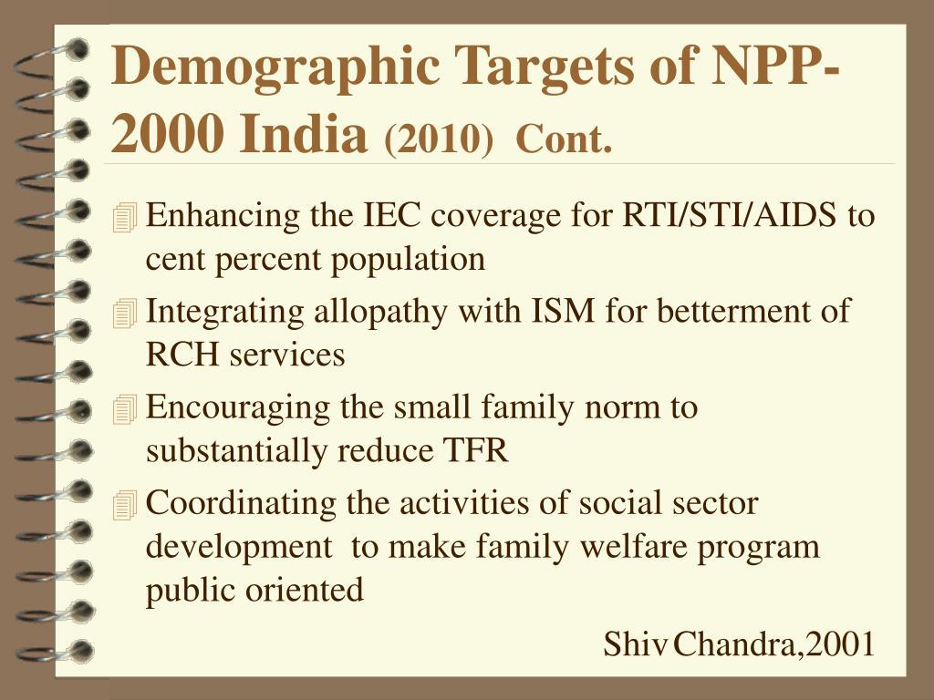 Demographic Targets of NPP-2000 India