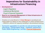 imperatives for sustainability in infrastructure financing