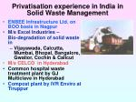 privatisation experience in india in solid waste management