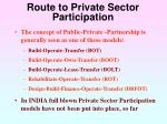 route to private sector participation