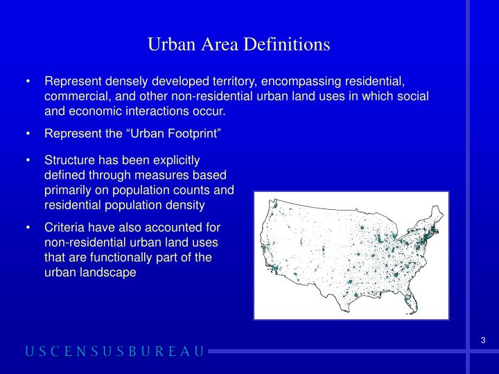 Urban area definitions