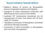 recent initiatives towards reform