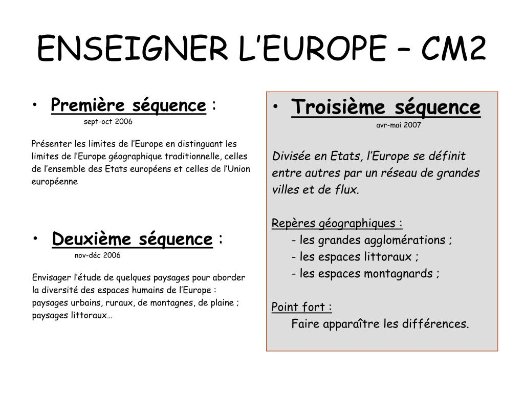ENSEIGNER L'EUROPE – CM2