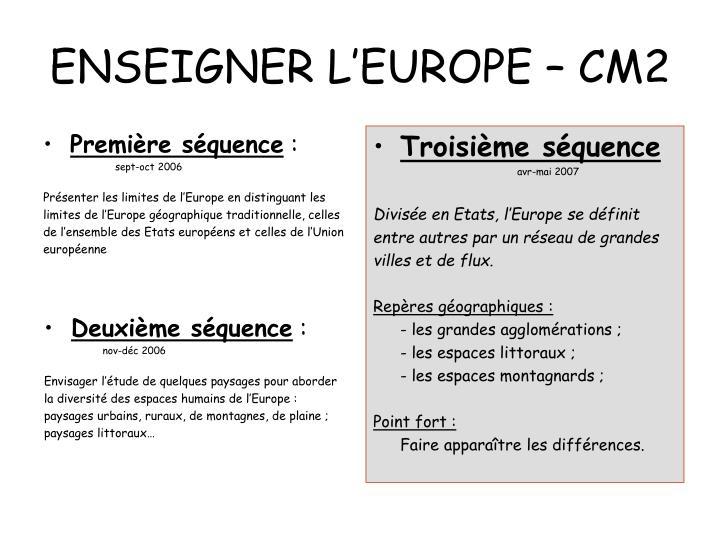 Enseigner l europe cm2