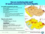 how are monitoring data used air quality assessment in the czech republic