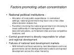 factors promoting urban concentration