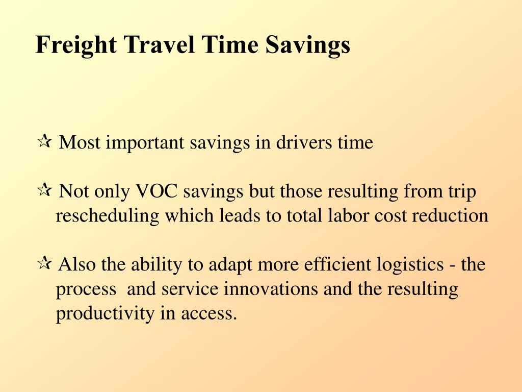Freight Travel Time Savings
