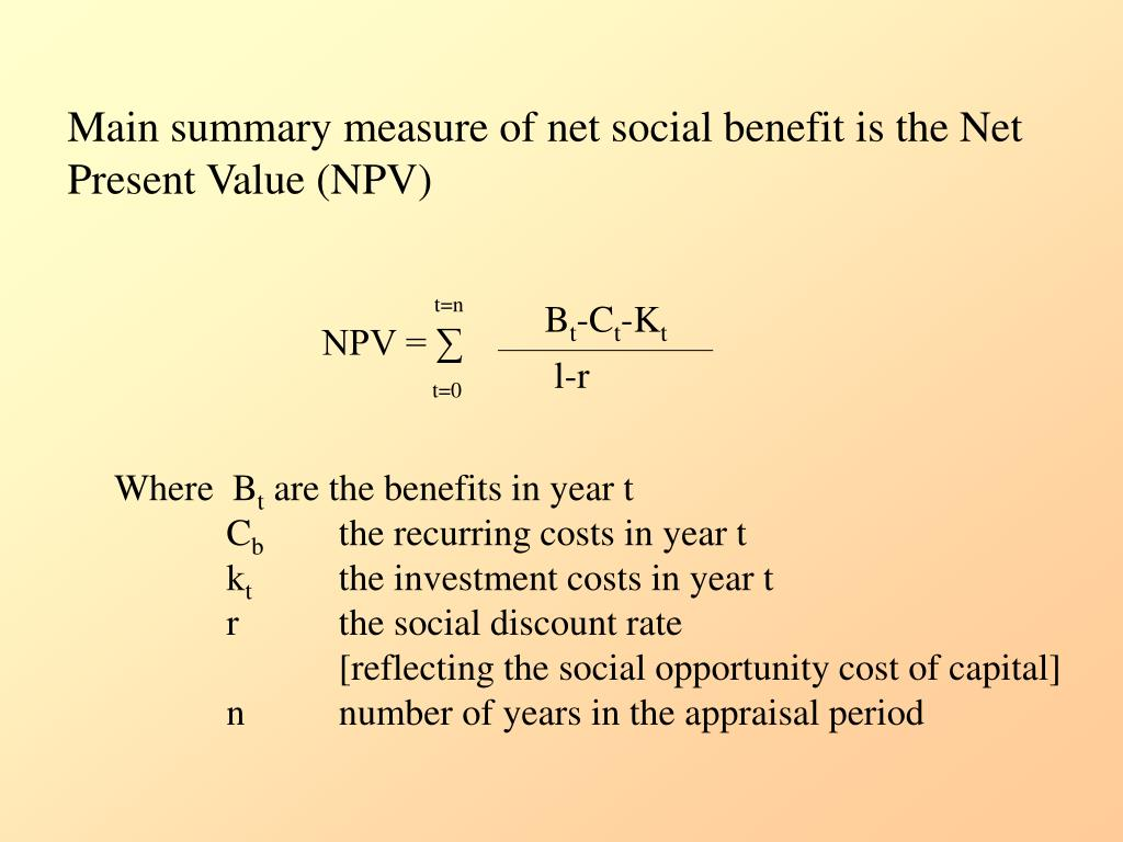 Main summary measure of net social benefit is the Net