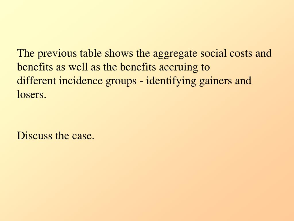 The previous table shows the aggregate social costs and benefits as well as the benefits accruing to