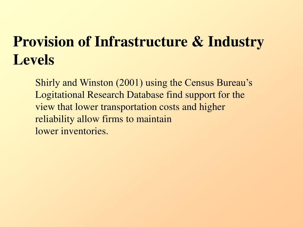 Provision of Infrastructure & Industry Levels