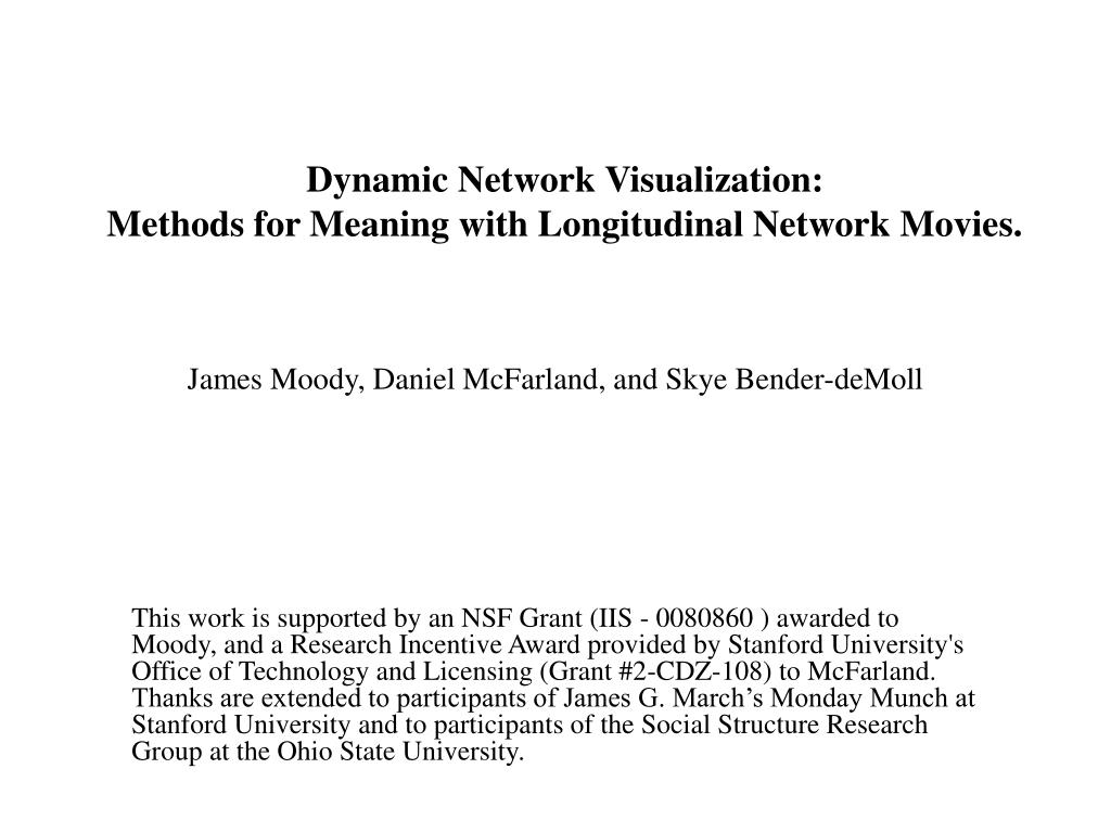 dynamic network visualization methods for meaning with longitudinal network movies l.