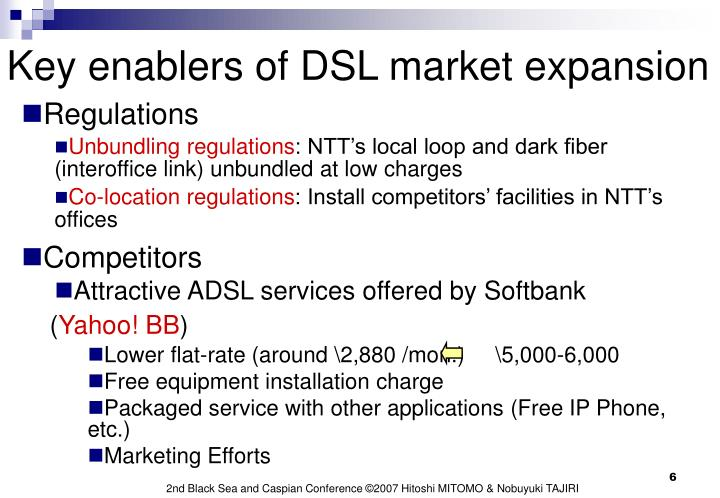 Key enablers of DSL market expansion