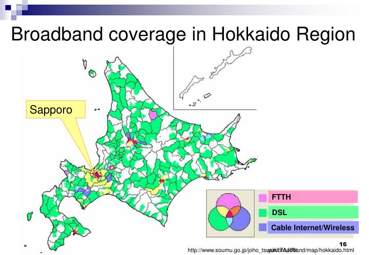 Broadband coverage in Hokkaido Region