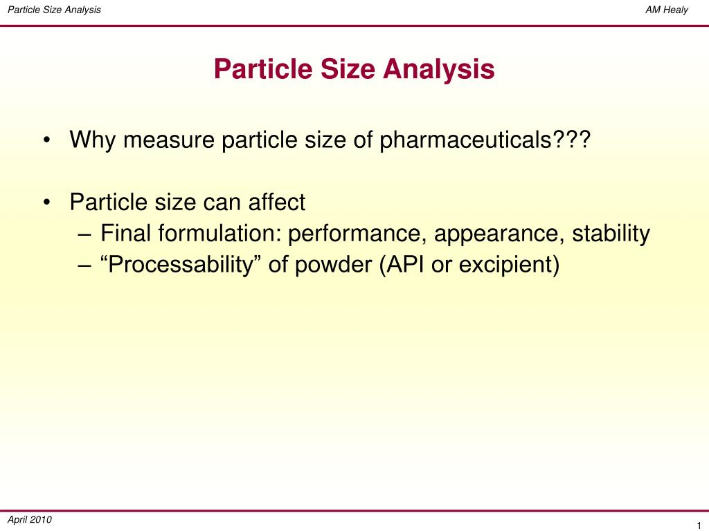 particle size analysis l.