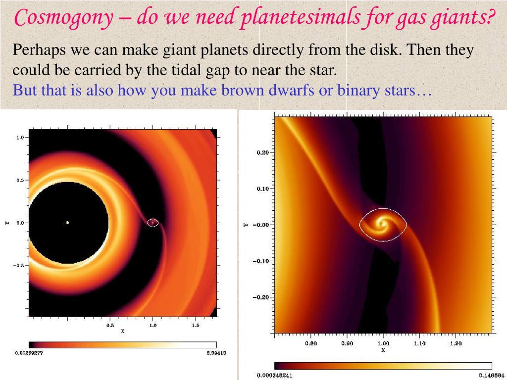 Cosmogony – do we need planetesimals for gas giants?