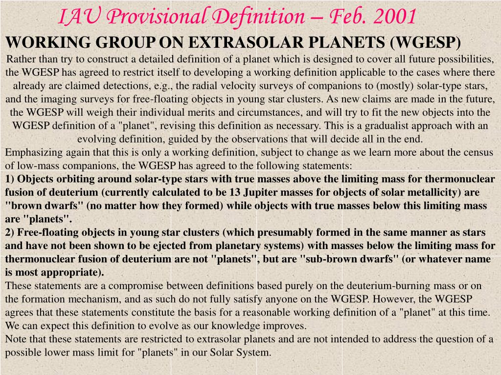 WORKING GROUP ON EXTRASOLAR PLANETS (WGESP) OF THE INTERNATIONAL ASTRONOMICAL UNION