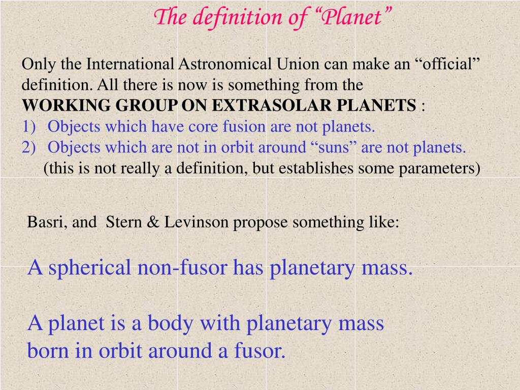 """The definition of """"Planet"""""""