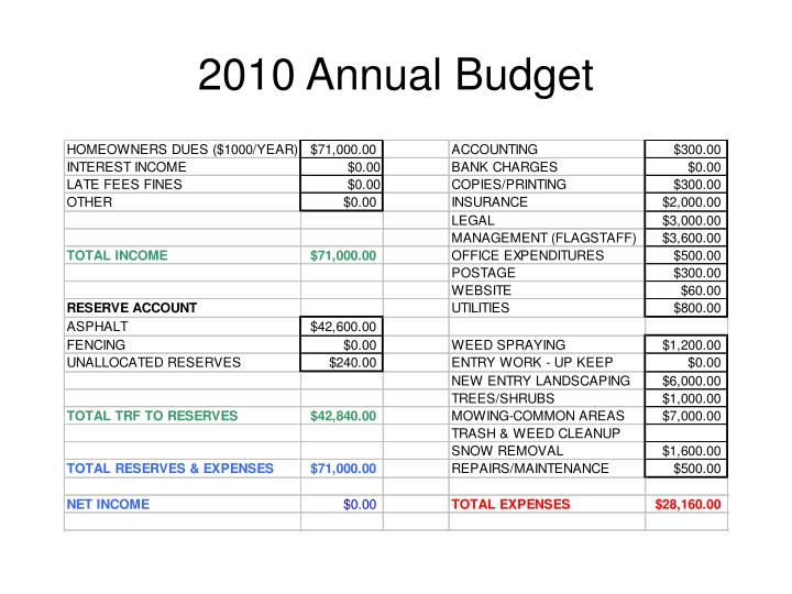 2010 Annual Budget