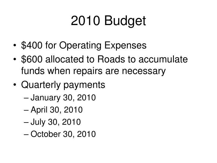 2010 Budget