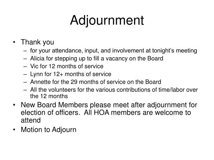 Adjournment