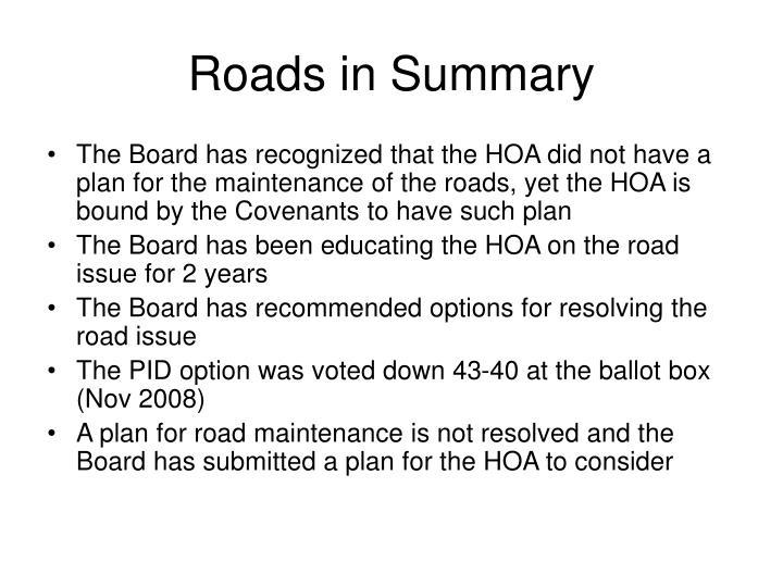 Roads in Summary