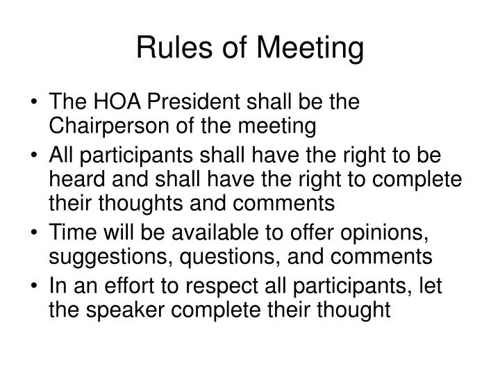 Rules of meeting