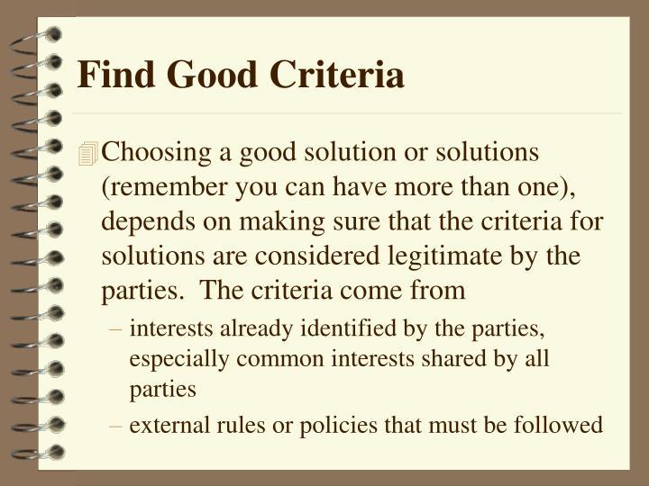 Find Good Criteria