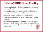 value of ibhe grant funding