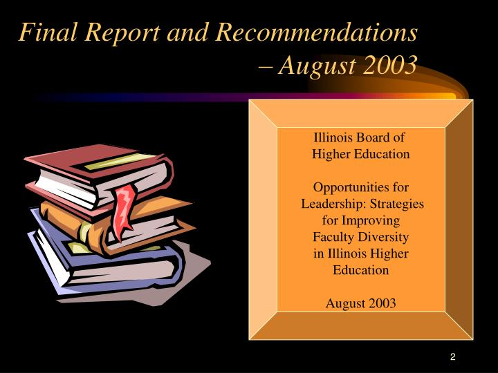 Final report and recommendations august 2003