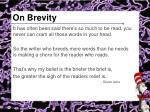 on brevity