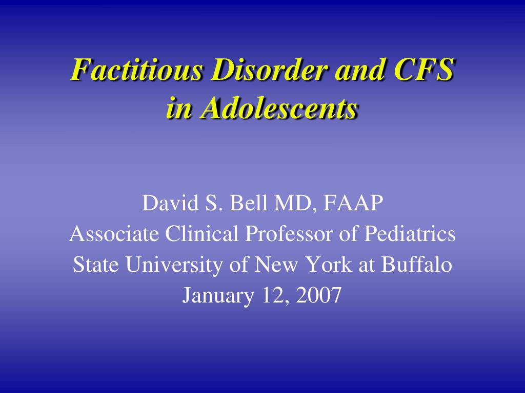 factitious disorder and cfs in adolescents l.