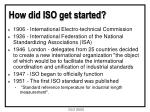 how did iso get started