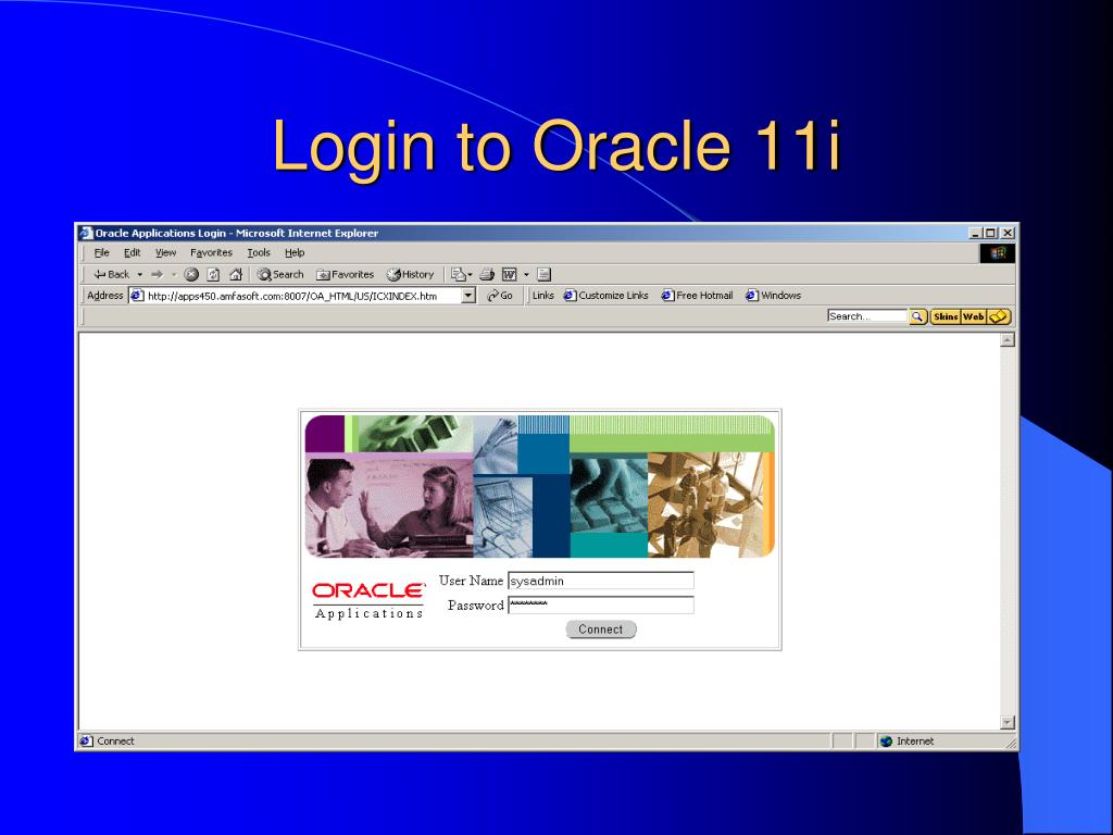Login to Oracle 11i