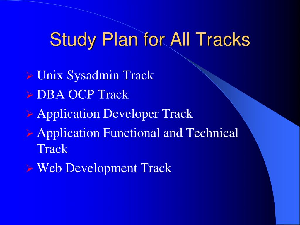 Study Plan for All Tracks