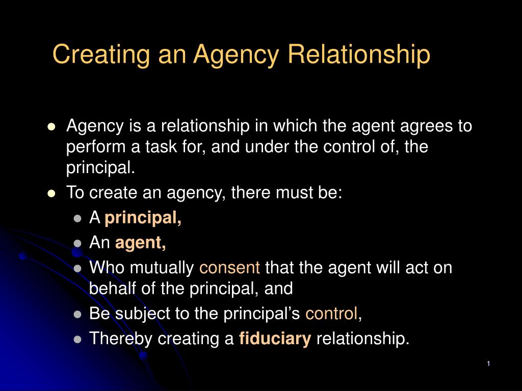 creating an agency relationship l.