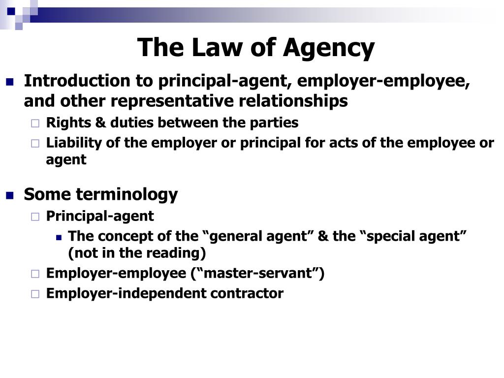 the law of agency l.