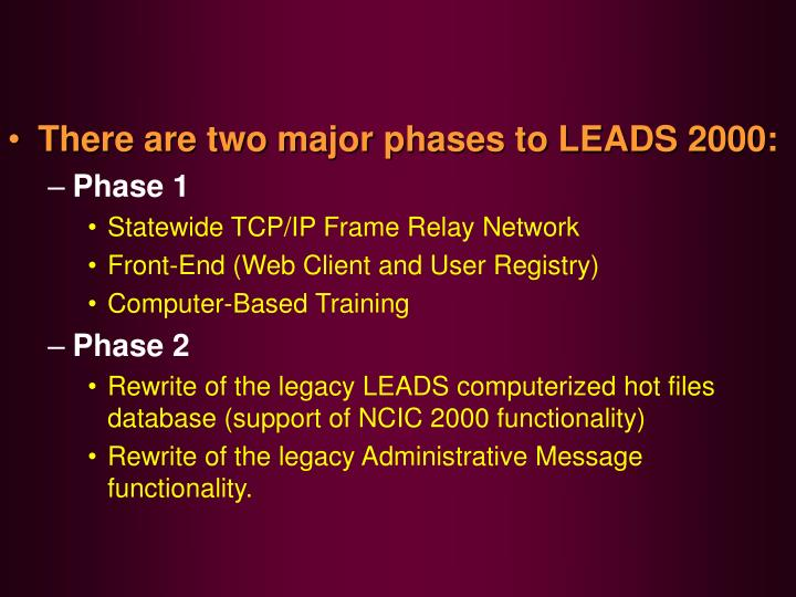 There are two major phases to LEADS 2000: