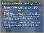recommendations and regulations