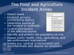 the food and agriculture incident annex