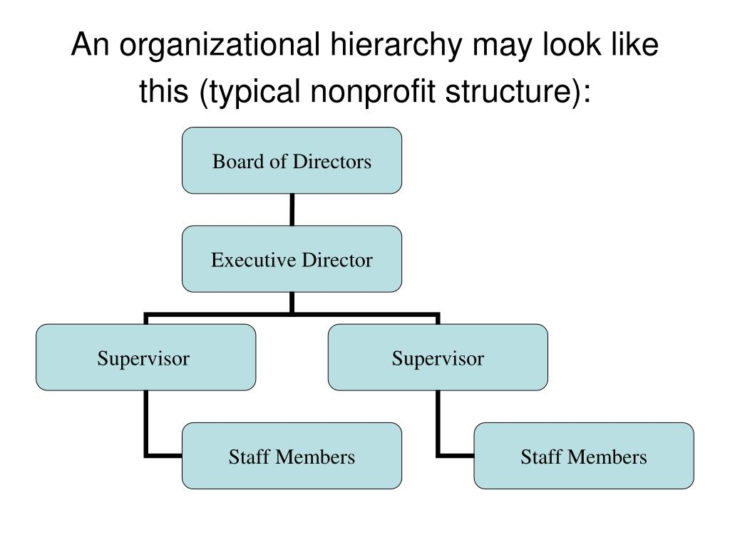 An organizational hierarchy may look like this (typical nonprofit structure):