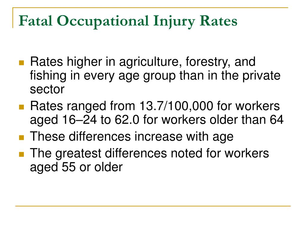 Fatal Occupational Injury Rates