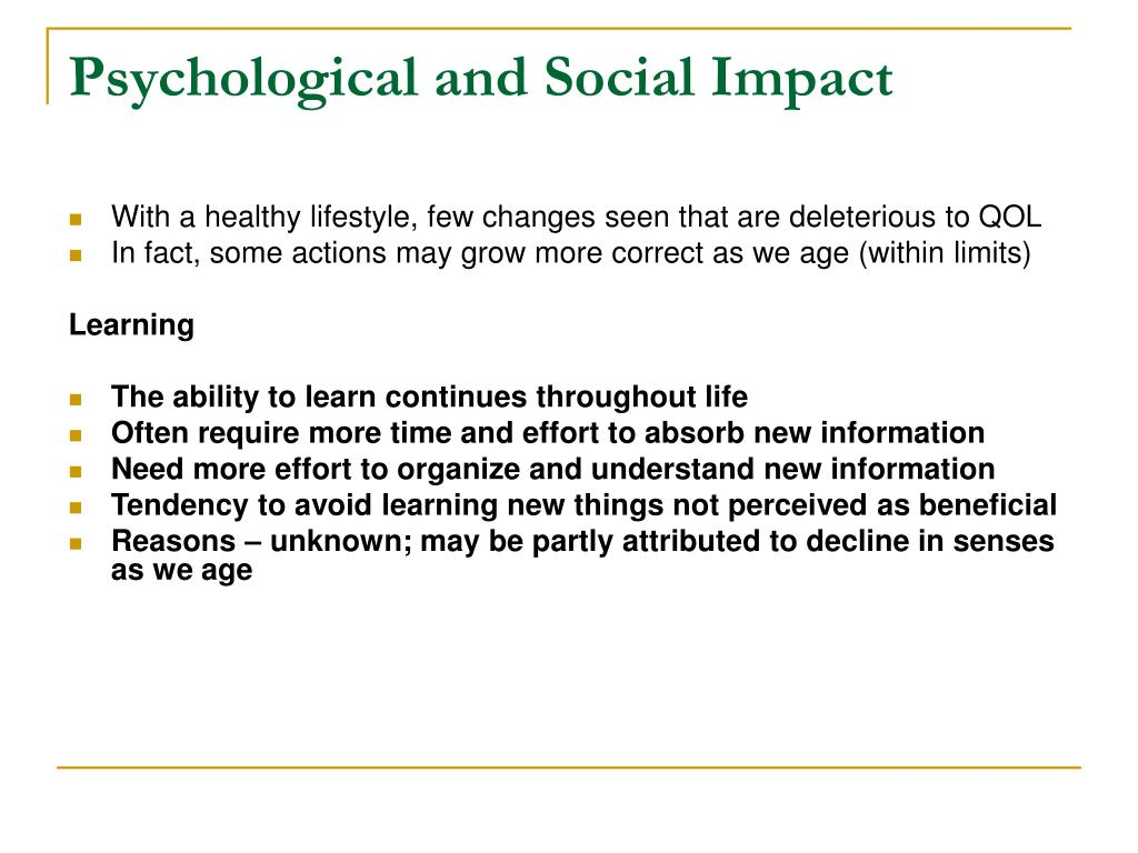 Psychological and Social Impact