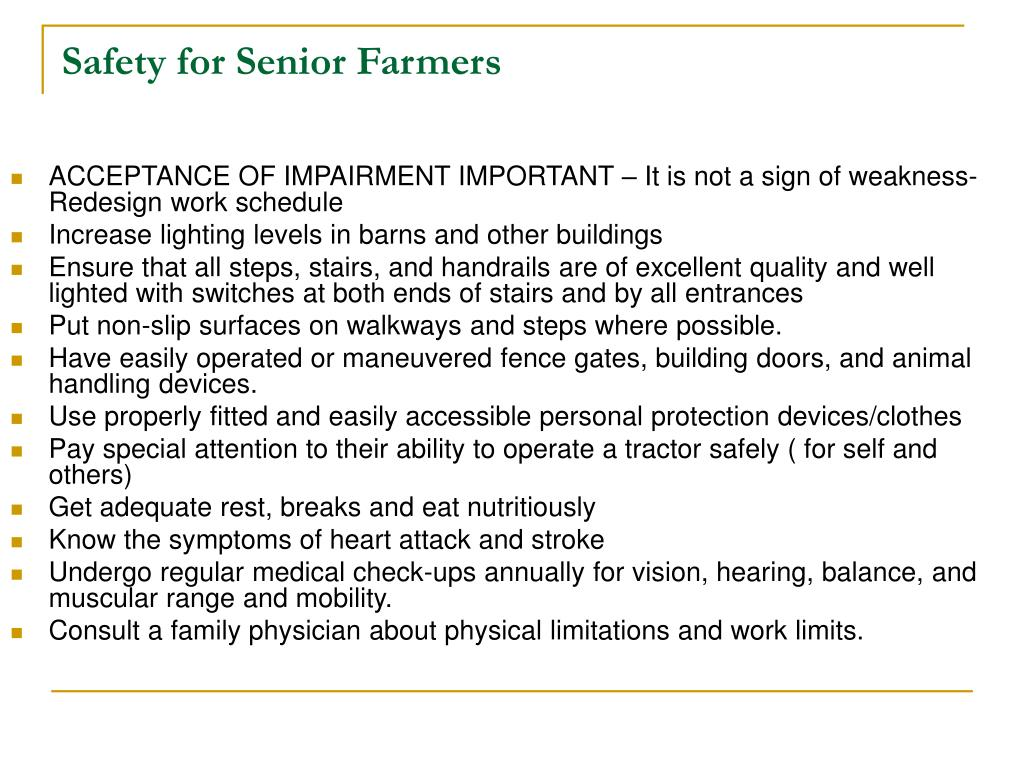 Safety for Senior Farmers