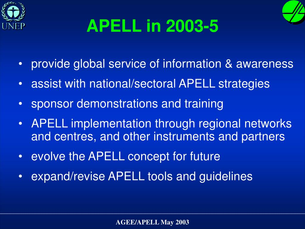 APELL in 2003-5