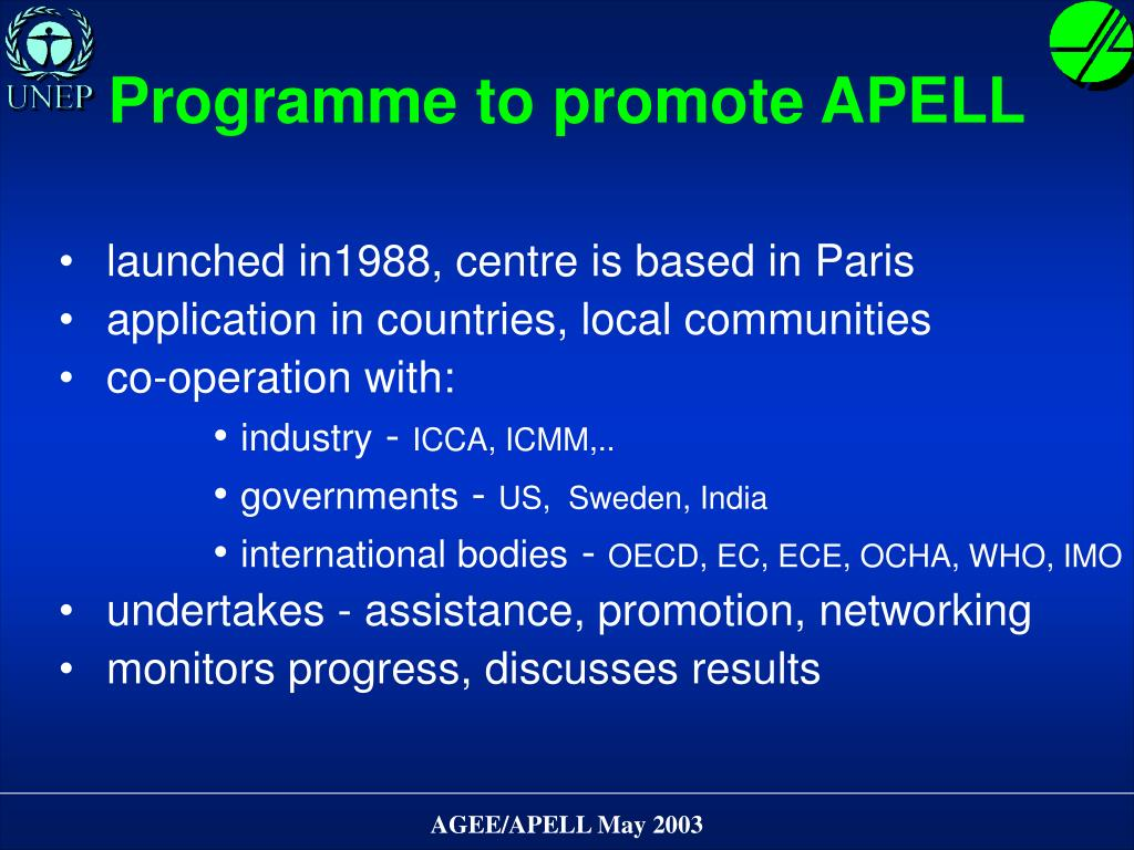 Programme to promote APELL