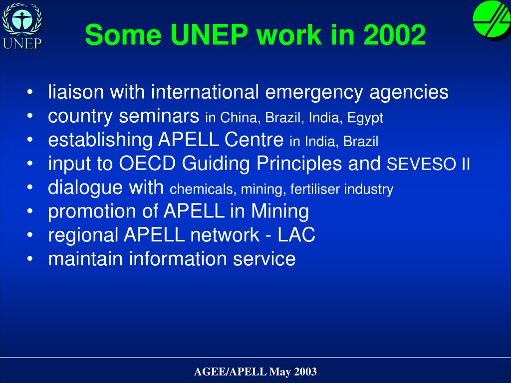 Some UNEP work in 2002