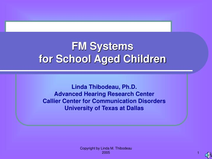 fm systems for school aged children n.